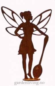 Bilde av Hagealv silhuett med skje på plate, rust - 35 cm
