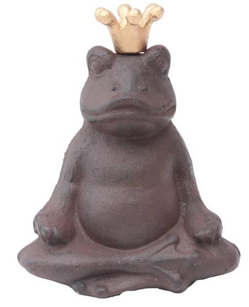 Hagepynt - frosk med gullkrone, buddha